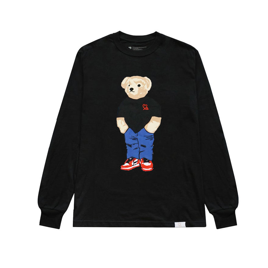 Jasper The Bear Long Sleeve Tshirt Black