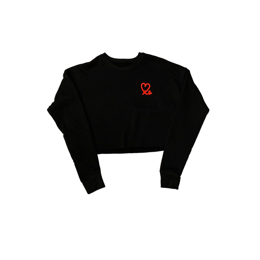 Black / Red Women's Cropped Crew Fleece