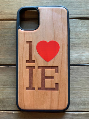 1 Heart IE  Engraved Wooden Case for iPhone