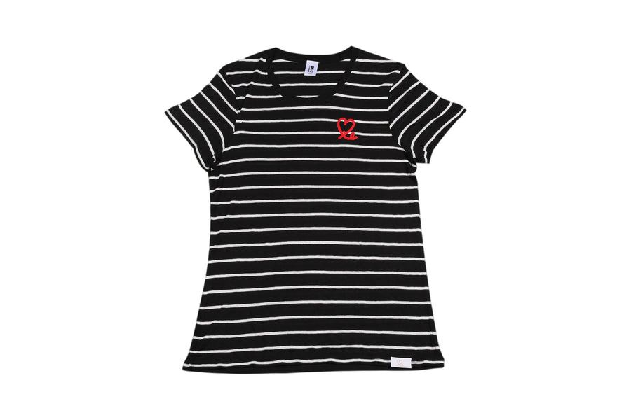 Women's Black and White Fine Stripe Short Sleeve Tee