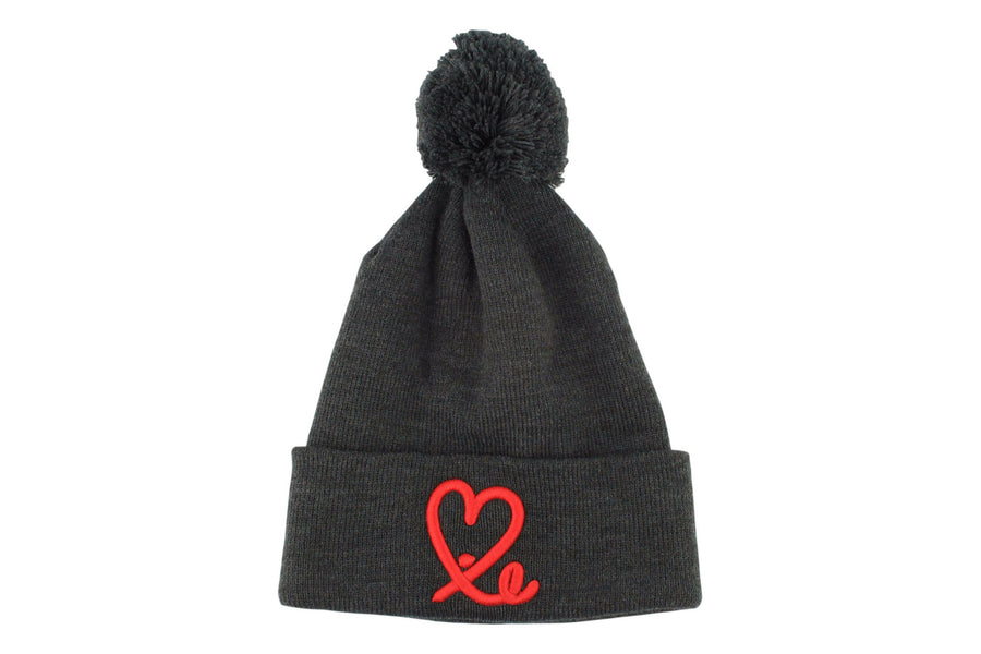 Fold Pom Pom Beanie (Dark Grey/Red)