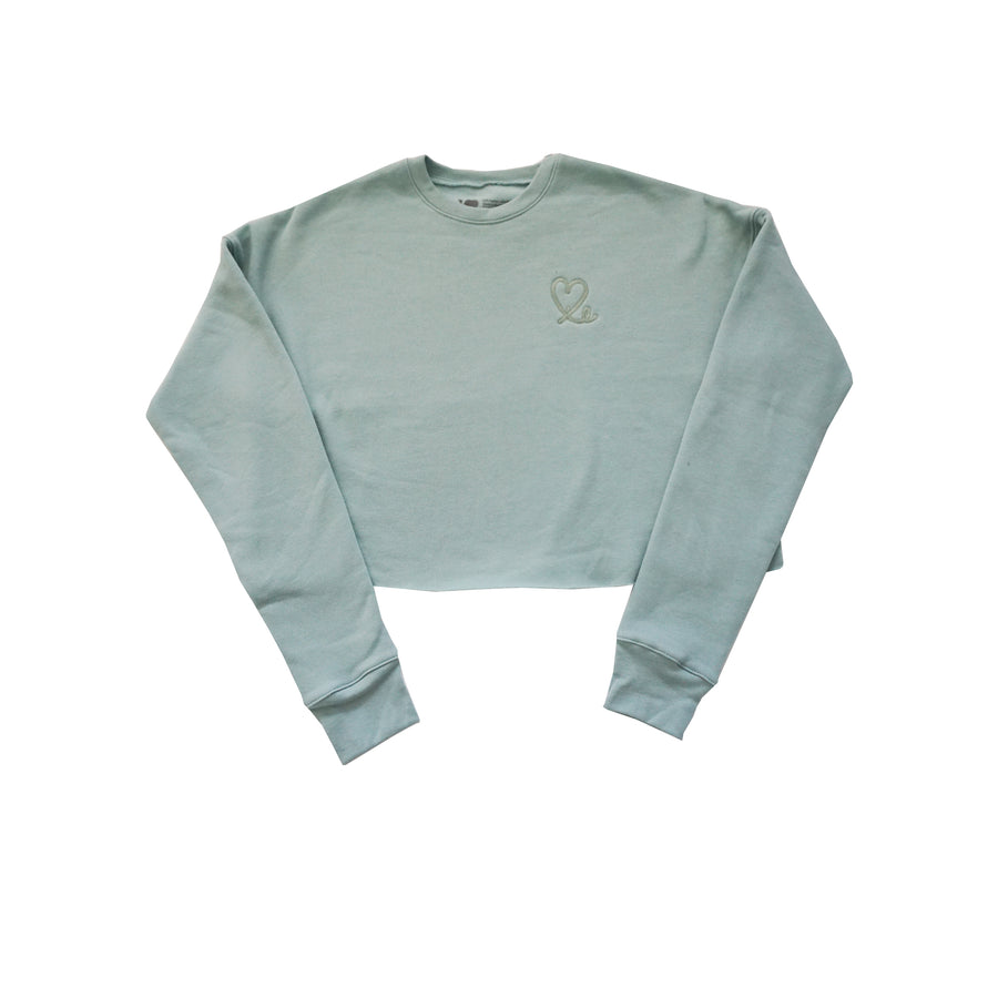 Dusty Teal Women's Cropped Crew Fleece