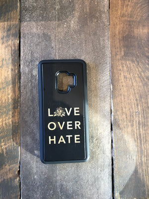 Love Over Hate  Engraved Wooden Case for Samsung Galaxy 9, 9+