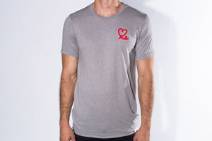 Men's Ash & Red Triblend Short Sleeve Tee