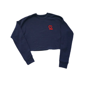 Navy Red Women's Cropped Crew Fleece