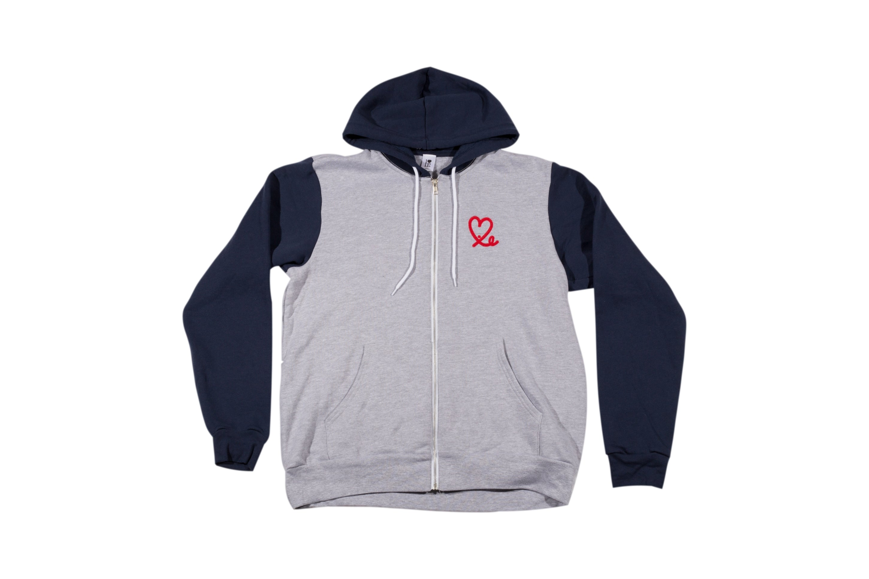 Two Tone Heather Navy Fleece Zip Up Hoodie