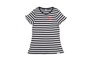 Women's Navy and White Fine Stripe Short Sleeve Tee