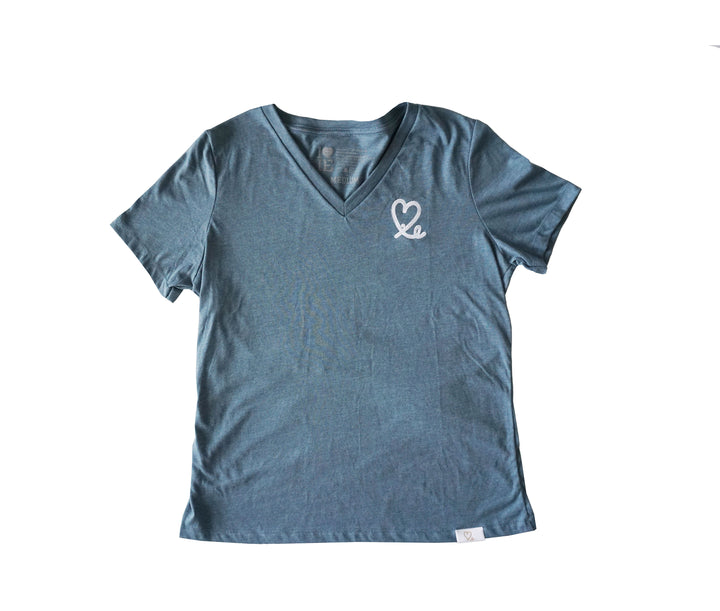 Women's Heather Blue and White Big Heart Tri-Blend Vneck Tee