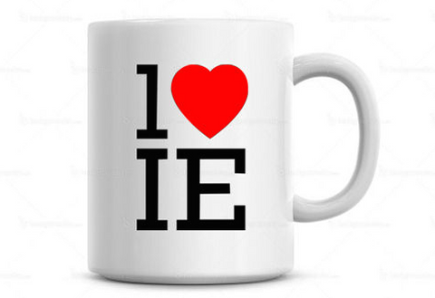 1 Heart IE White Coffee Mug