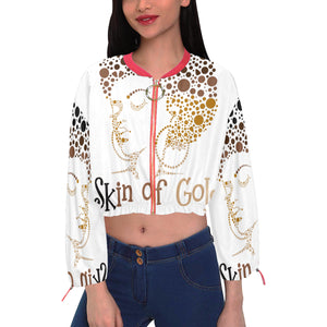 Skin of Gold Women's Chiffon Cropped Jacket (Model H30)
