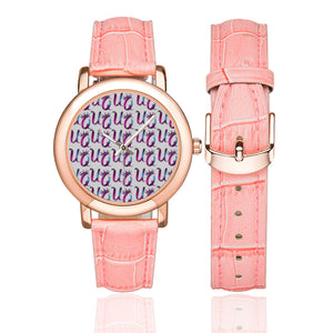 Unique Queens Purple and Pink Galaxy Women's Rose Gold-plated Leather Strap Watch (Model 201)
