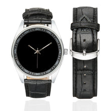 Load image into Gallery viewer, Mens Black with Silver trim Men's Casual  Leather Strap Watch (Model 211)