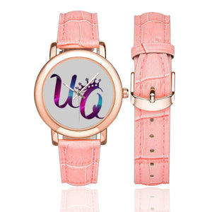 UQ Women's Rose Gold-plated Leather Strap Watch (Model 201)