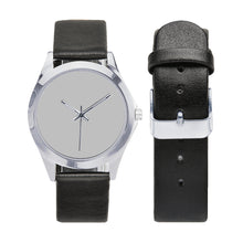 Load image into Gallery viewer, Black Leather Watch/Silver Unisex Round Metal Watch (Model 216)