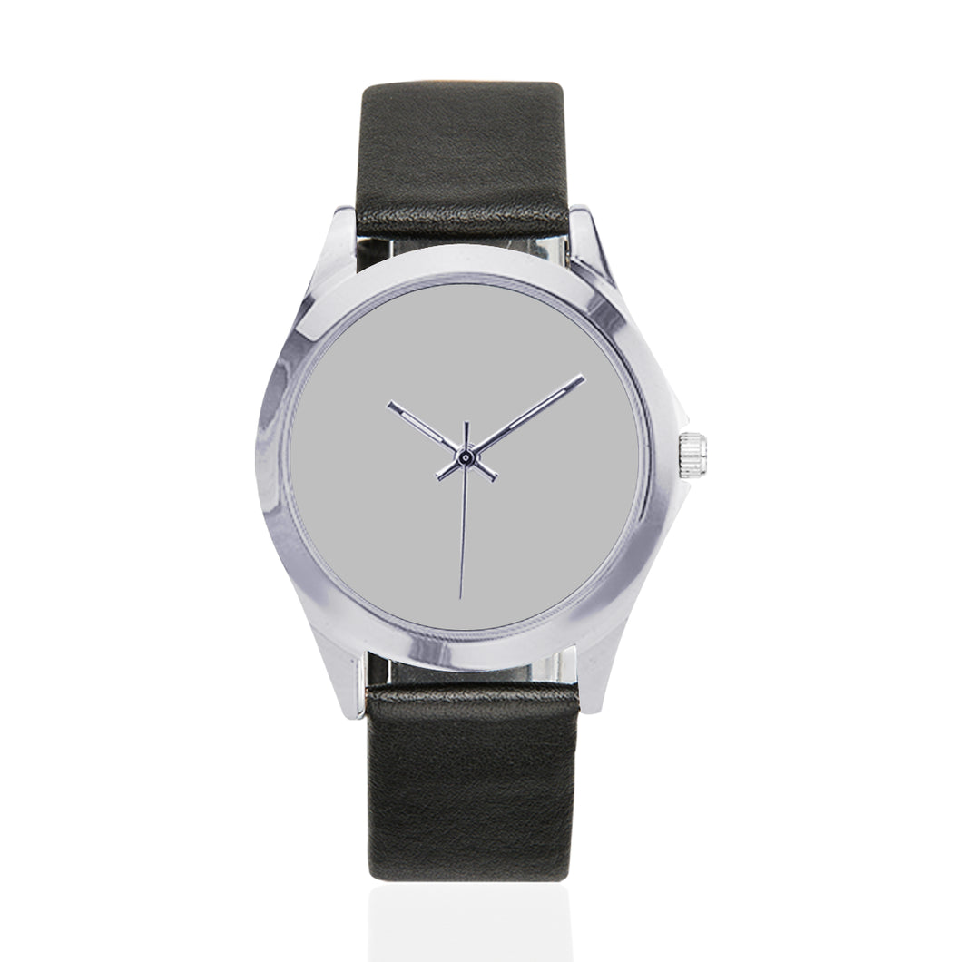 Black Leather Watch/Silver Unisex Round Metal Watch (Model 216)