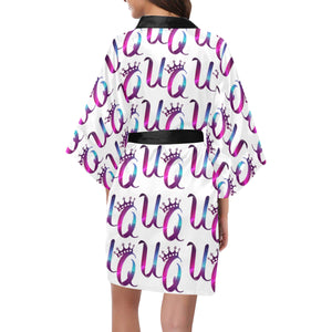 Unique Queens Purple and Pink Galaxy Women's Short Kimono Robe