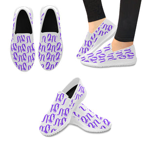 Unique Queens Purple Orion Slip-on Canvas Women's Sneakers (Model042)