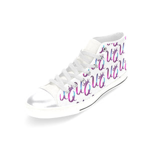 Unique Queens Purple and Pink Galaxy Aquila High Top Canvas Women's Shoes (Model 017)