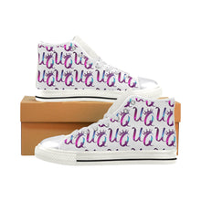 Load image into Gallery viewer, Unique Queens Purple and Pink Galaxy Aquila High Top Canvas Women's Shoes (Model 017)