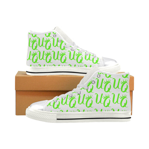 Unique Queens Neon Green Aquila High Top Canvas Women's Shoes (Model 017)