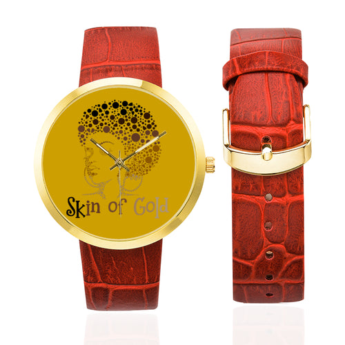 Skin of Gold Women's Golden Leather Strap Watch (Model 212)