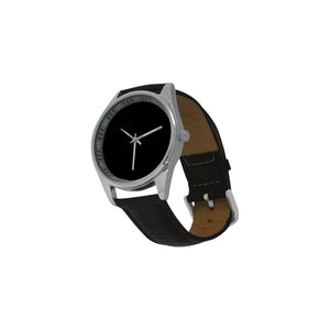 Mens Black with Silver trim Men's Casual  Leather Strap Watch (Model 211)