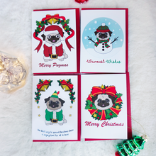 Load image into Gallery viewer, four christmas cards with pugs