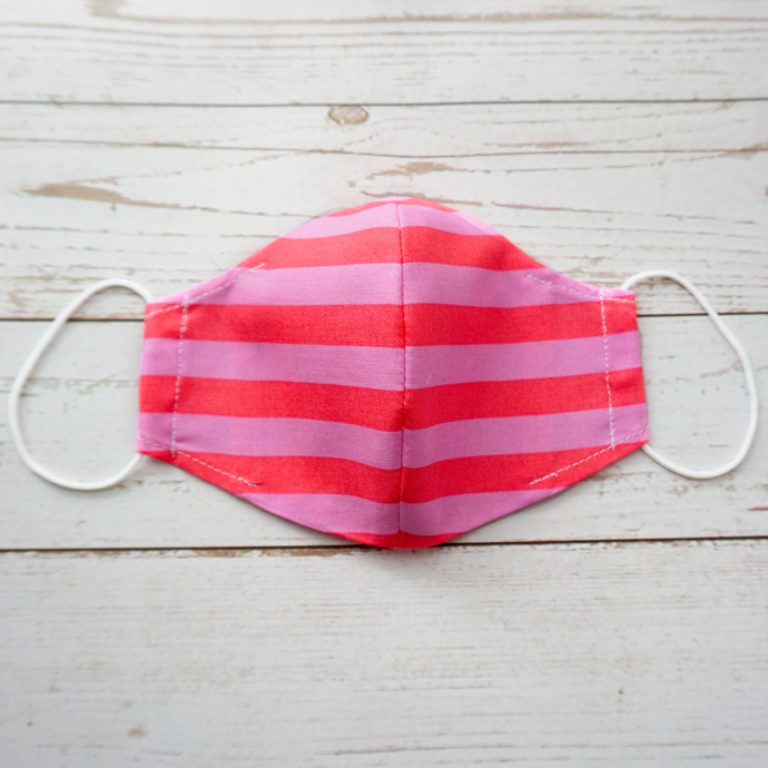 pink cotton face mask with filter pocket printed with hot pink stripes