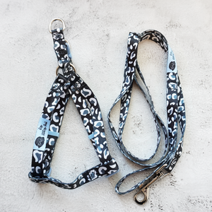 black and white leopard print dog harness and lead set