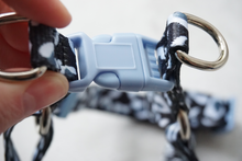 Load image into Gallery viewer, black and white leopard print dog strap harness with blue buckle