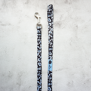 size small black and white leopard print dog lead