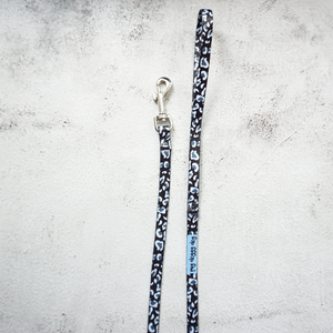 extra small size black and white leopard print dog lead