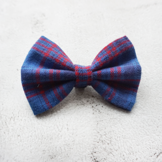 Preppy blue flannel Bow