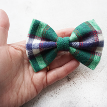 Load image into Gallery viewer, Green tartan flannel Bow