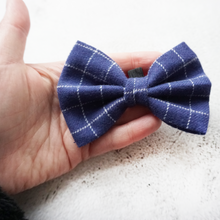 Load image into Gallery viewer, Blue check flannel Bow