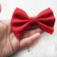 Load image into Gallery viewer, Red check flannel Bow