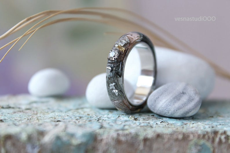 Silver Black Engagement Ring