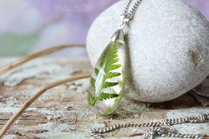 Real Fern Resin Necklace