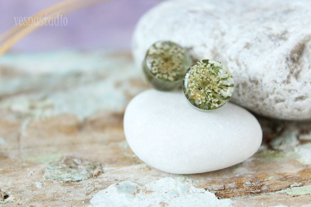 Queen Anne Lace Flower Earrings