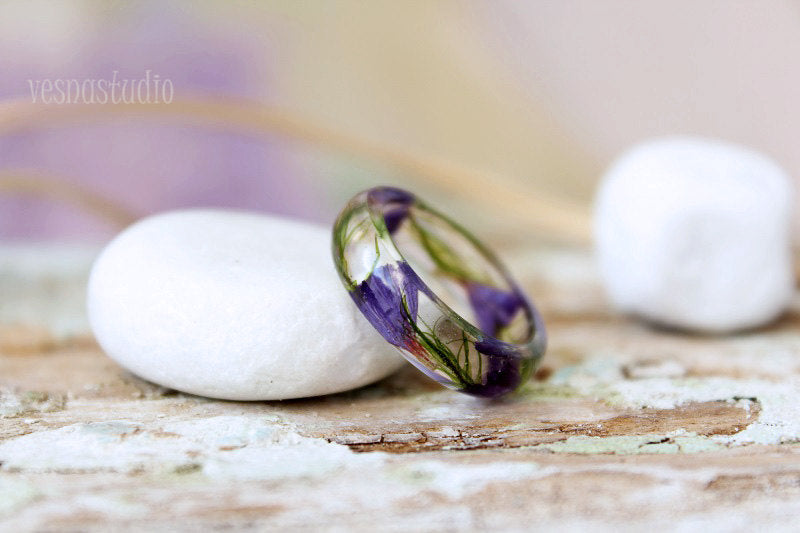 Lilac Flower Resin Ring