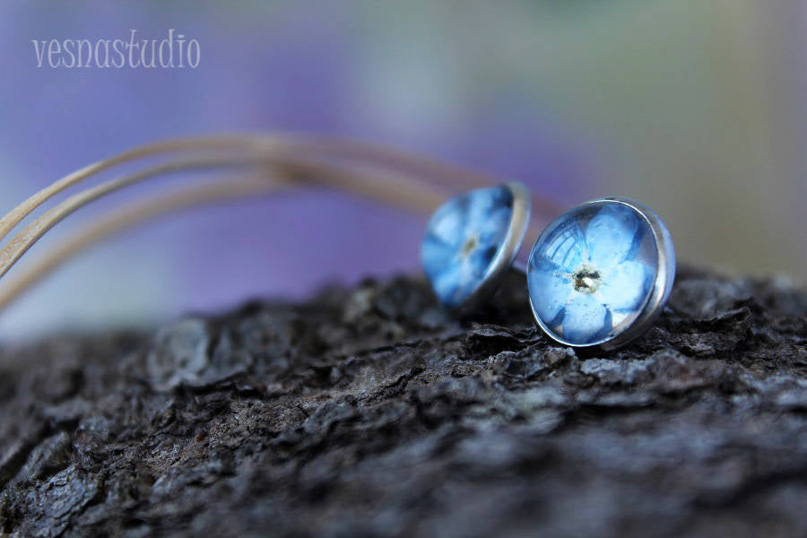 Blue Forget-me-not Stud Earrings