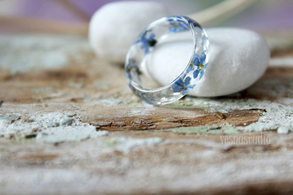 Forget-me-not Faceted Ring