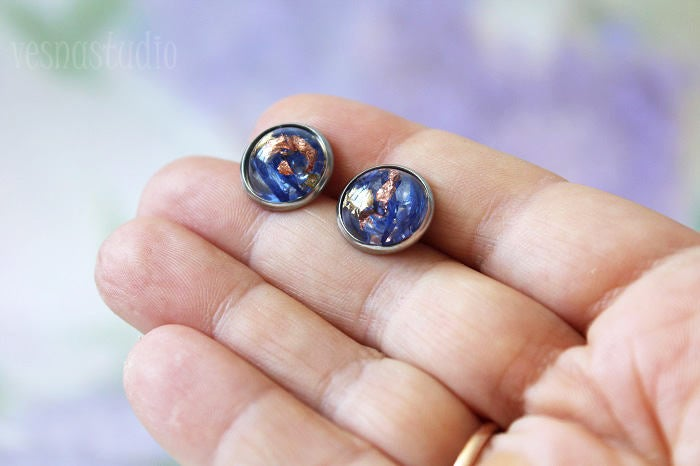 Blue Сornflower Stud Earrings