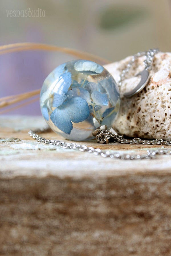 Moon Blue Hydrangea Necklace
