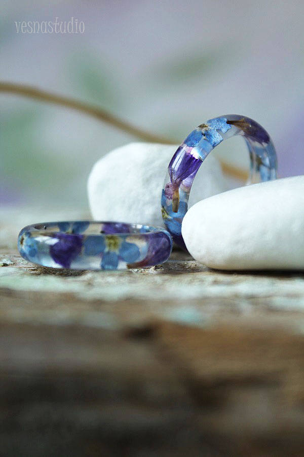 Purple Blue Forget-me-not Ring
