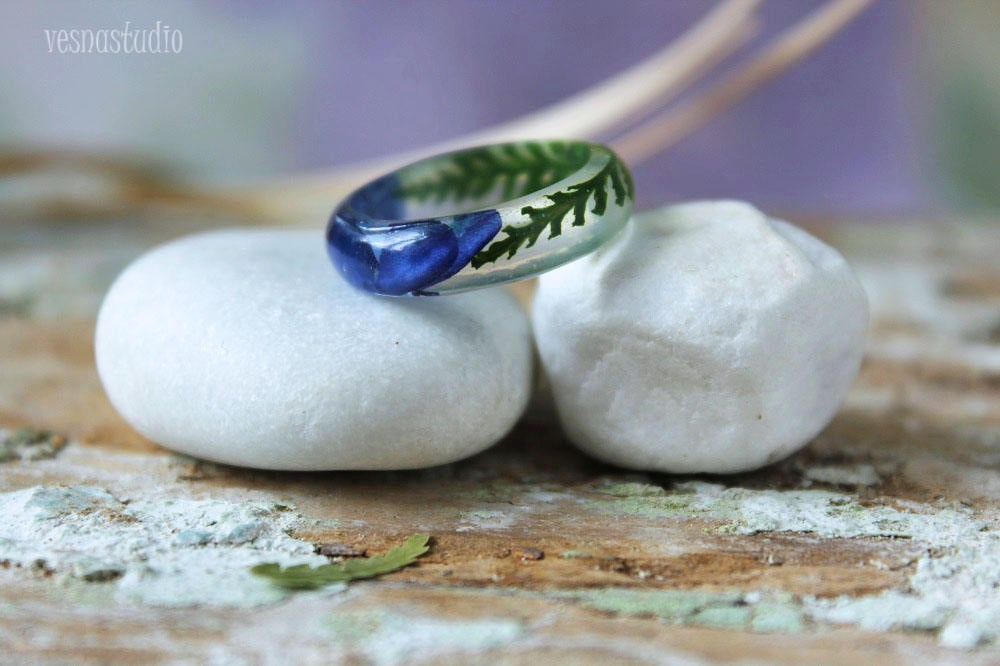 Blue Lobelia Flower Ring