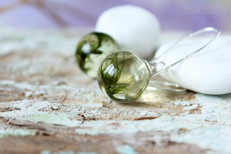 Green Moss Sphere Earrings
