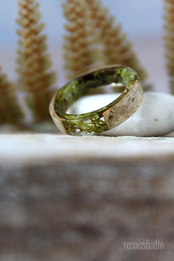 Birch Bark Real Moss Ring