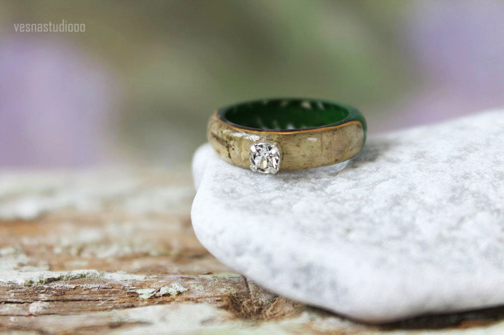 Real Fern Engagement Resin Ring