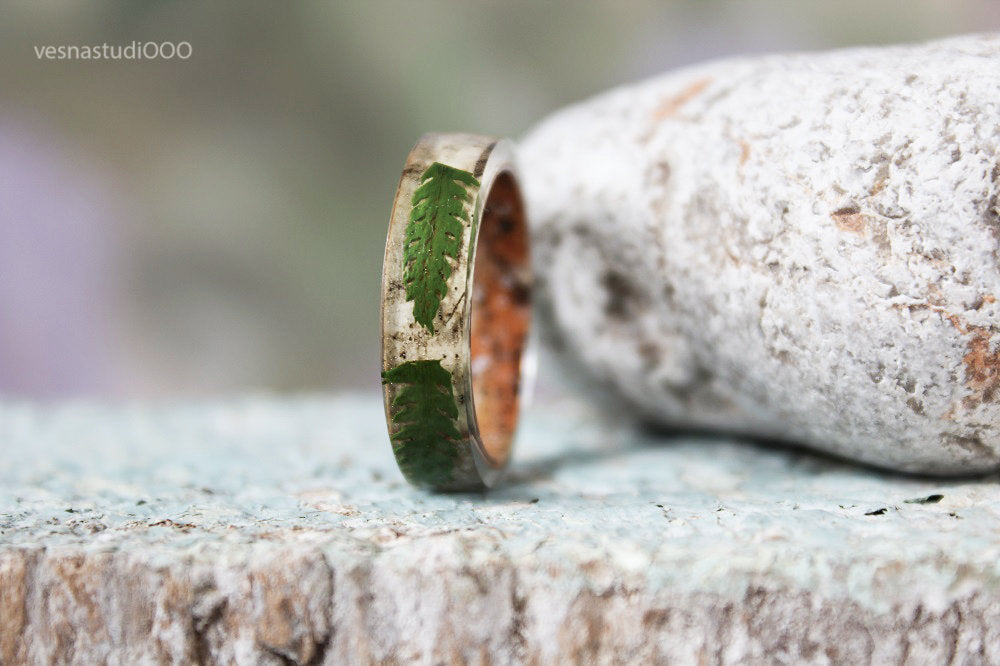 Real Fern Resin Birch Bark Ring